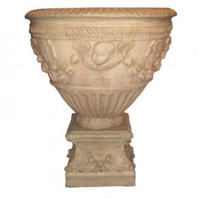 "Antique Italian Terracotta Planter On Stand. H: 35"" D:"