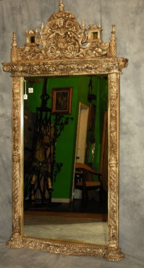 "Large Continental Carved And Painted Mirror. H: 83"" W:"