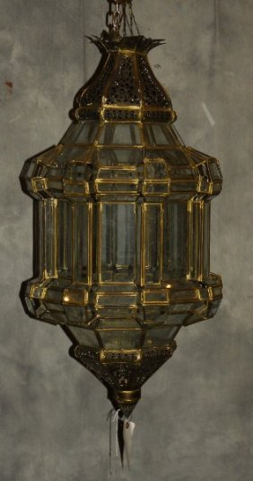 """Moroccan Brass And Glass Hanging Lantern. H: 36"""" D: 17"""""""