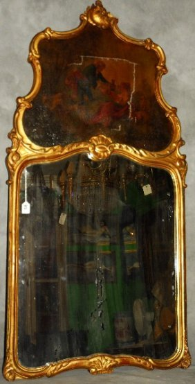 """Louis Xv Style Carved Gilt-wood Trumeau. H: 58"""" W:"""