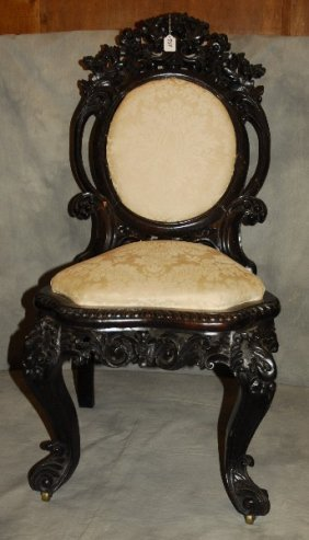 19th C. Belter Style Carved Rosewood Parlor Chair. H: