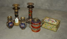 Six Assorted Chinese Enamel Pieces. Candlestick: 7""