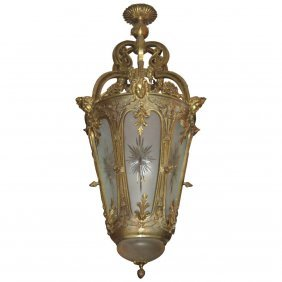 """Louis Xvi Style Bronze And Etched Glass Lantern. H: 42"""""""