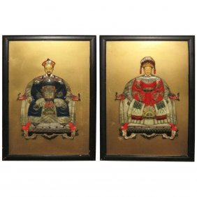 """Pair Of Chinese Polychrome Laquer Plaques. 36"""" X 24"""""""
