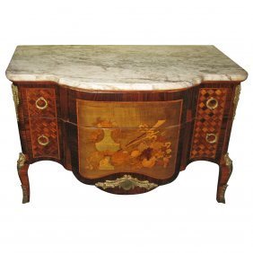 19th C. French Louis Xv Style Bronze Mounted And Inlaid