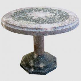 "Mizner Style Terrazzo Stone Patio Table. H: 31.5"" D:"