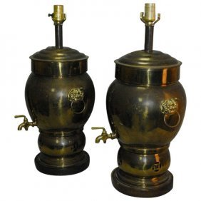 Pair Of 19th C. Chinese Brass Tea Urns, Later Mounted