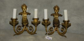 "Pair Of Bronze 2-light Figural Wall Sconces. H: 8"" W:"