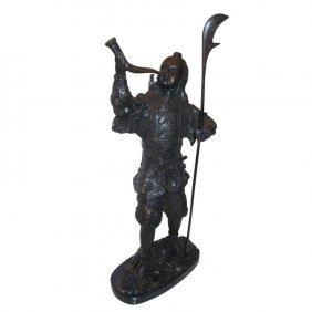 "Bronze Figure Of A Samurai. H: 21"""