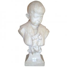 Frans Joris, Belgium 1851-1914, Marble Portrait Bust,
