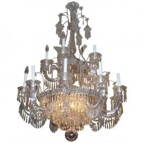 English Regency Style 15-light Crystal Chandelier. H: