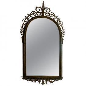 """Oscar Bach Bronze Mirror, Circa 1925 H: 46"""" W: 24"""""""