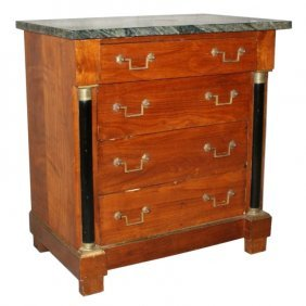 19th C. French Empire Dimunitive Marble Top 4 Drawer
