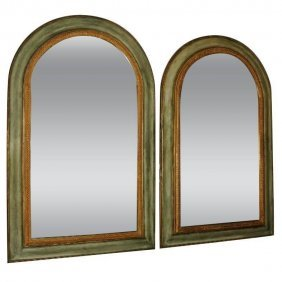 Pair Of Continental Carved And Painted Wood Mirrors. H: