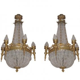Pair Of Classic Empire Style Bronze And Crystal Basket