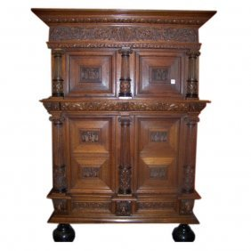 18th C. Dutch Carved Oak Cupboard With Original Locks