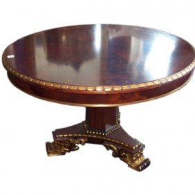 English Mahogany And Partial Gilt Center Table. H: 31""