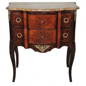 19th C. French Louis Xv Style Marble Top Commode. H: