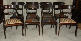 Set Of 8 Federal Style Mahogany Dining Chairs Comprised