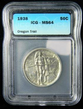Rare 1938 Oregon Trail Only 6000 Minted ICG MS64