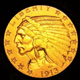 1913 S $5 Dollar Gold Half Eagle Indian