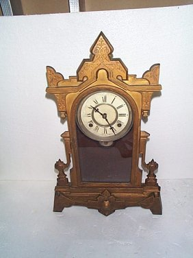 Cast Iron And Wood Victorian Mantle Clock. Local D