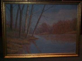 Framed Oil On Canvas.  Lake Scene In Woods.  Signe