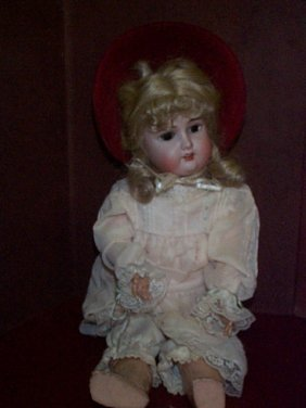 Antique Porcelain Head Doll With Composition Joint