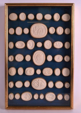 A Framed Set Of Victorian Plaster Cameos Of Various