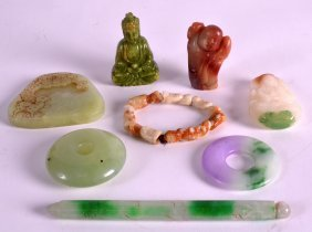 A Collection Of Seven Chinese Carved Hardstone Articles