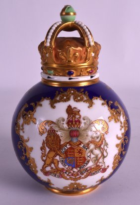 A Royal Worcester Porcelain Jar And Cover With Unusual