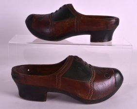 A Pair Of Early 20th Century Painted Wooden Clogs With