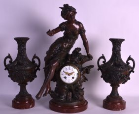 A 19th Century French Cold Painted Spelter Clock