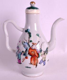 An Unusual 19th Century Chinese Famille Rose Ewer