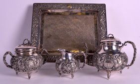 A Fine 19th Century Oriental Silver Teaset On Stand