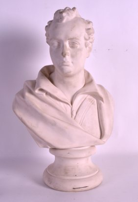 A Good 19th Century Wedgwood Parian Ware Bust Of Byron