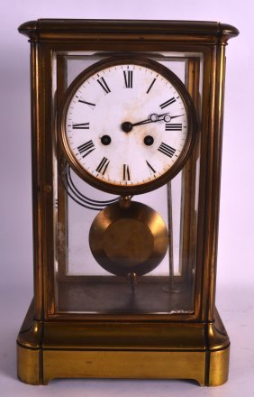 A 19th Century French Four Glass Mantel Clock With