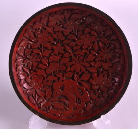 A 19th Century Chinese Carved Cinnabar Lacquer Dish