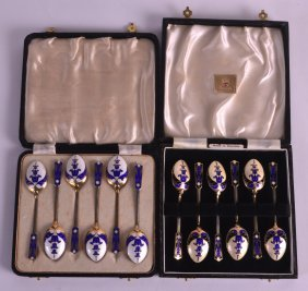 A Set Of Art Deco Silver And Enamel Coffee Spoons