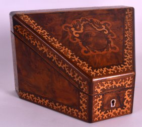 A Victorian Walnut Stationary Box With Seaweed Inlaid