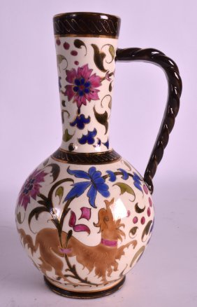 A Late 19th Century Continental Pottery Vase Painted