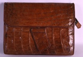 A Vintage Crocodile Skin Ladies Purse/bag. 12ins Wide.