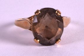 An Edwardian 9ct Yellow Gold And Smokey Quartz Ring.