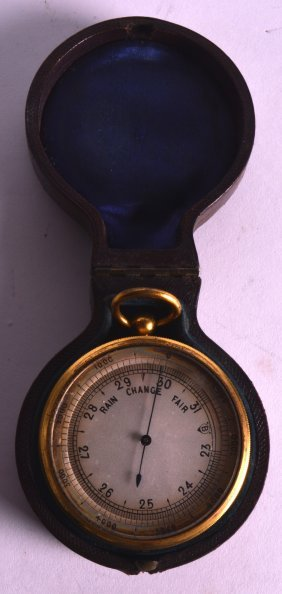 A 19th Century Pocket Barometer And Thermometer.
