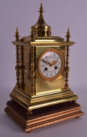 A 19th Century French Brass Eastern Style Mantel Clock