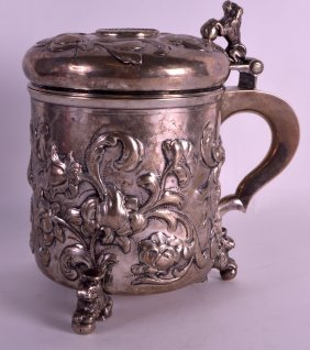 A Good 18th Century Swedish Silver Stein Inset With A
