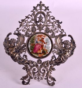 A Late 19th Century German Silver Desk Stand Inset With