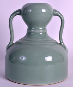 A Chinese Twin Handled Celadon Vase 20th Century,