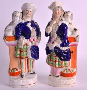 A Pair Of 19th Century Staffordshire Figures Depicting
