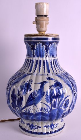A 19th Century Dutch Delft Pottery Vase Converted To A